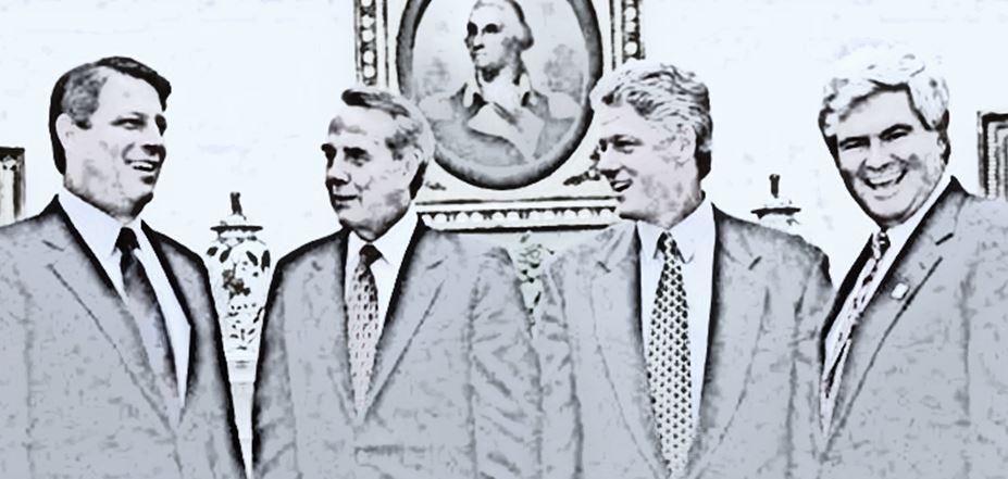 Left to Right: Al Gore, Bob Dole, Bill Clinton, Newt Gingrich